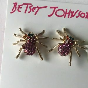 NWT Betsey Johnson Pink Spider Stud Earrings